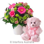 Olivia - Bright Mixed Arrangement with a Teddy Bear