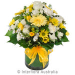 Sunshine - Mixed Pastel Posy in a Glass Vase