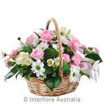 Tenderness - Petite Basket of Pastel Blooms