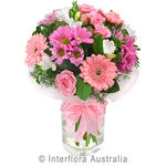 Pink Lady - Mixed Pastel Posy in a Glass Vase