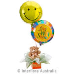 Get Well Hugs - Teddy Bear with Helium Balloons