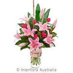 Allegra - Modern Boquet of Oriental Lillies & Roses in a Vase