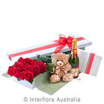 Grand Seduction - Presentation Box of 12 Long Stemmed Roses, Sparkling Wine, Cho