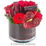 Ruby - Bright Designer Arrangement in a Low Glass Vase
