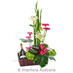 Twice as Nice - Designer Flower Basket with Sparkling Wine